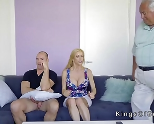 Huge bra buddies stepmom helps fellow with boner